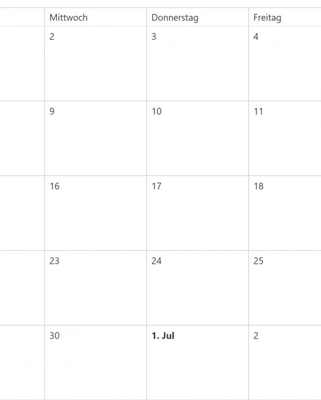 Kalender, © Screenshot Kalender